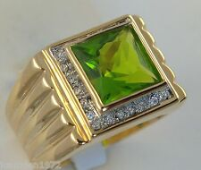 PERIDOT simulated men's 9.1 carat ring cz 18K yellow gold overlay size 13
