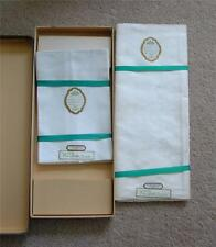Antique Irish Linen Damask Tablecloth and 8 Napkins Formal Roses UNUSED 66 x 86