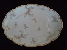 French Haviland china lg oval platter 18in Sch 29 K pink flowers double gold