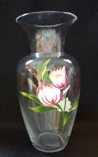 CLEAR GLASS VASE WITH HAND PAINTED FLOWERS