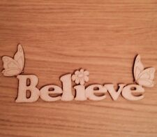 Wooden Word Believe With butterflies Mdf Craft Shape Door Wall Decoration