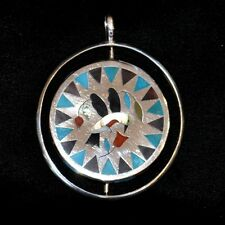 "Zuni Multi-Stone Inlay & Sterling Silver Double-sided Swing Pendant, 3""x2.5"""
