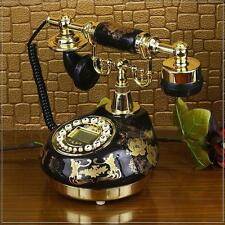 Black Ceramic Retro Vintage Antique Style Push Button Dial Desk Phone