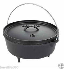 "LODGE L12CO3 6QT 12"" PRE-SEASONED CAST IRON CAMP DUTCH OVEN W/LID & FEET  NEW!"