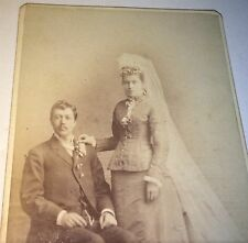 Antique Victorian American Wedding Fashion ID'd Couple! Wisconsin! Old CDV Photo