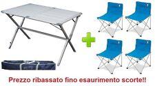 Tavolo campeggio alluminio Argo 110x70x72H + sacca trasporto e 4 sedie con sacca