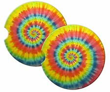 ROUND SANDSTONE CAR COASTERS TIE DYE-SET OF TWO