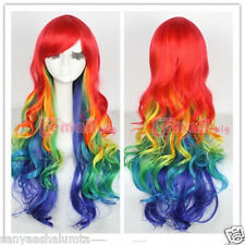 75cm long Multicolour Rainbow Harajuku Curly Wave cosplay party hair wig 083