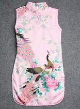 Pink Kid Child Girl's Baby Peacock Cheongsam Dress / Qipao Size 4 for 2-3 Year