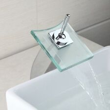 Basin/ Bath Square Glass Waterfall Mixer Faucet Bathroom Basin Water-Taps