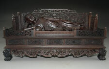 35.5 cm */A rare large Chinese rosewood hand-carved giant sleeping Buddha statue