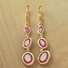 Red Corundum Solid Gold Filled Womens Tear Drop Dangle Earrings Clip-On Earings