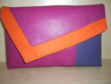 OVER SIZED FUCHSIA PINK, ORANGE & PURPLE faux leather clutch bag,  lined BN