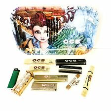 OCB Rolling Papers & Tray Kit-Premium-Raw Rolling Mat-Wood Roller-Wick-Organic