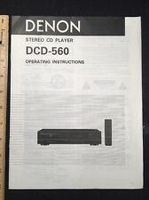 Denon Dcd-560 Cd Player Original Owners Manual 13 page dcd560 A16