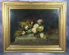 TRES BELLE PEINTURE / HUILE SUR TOILE de 1805 BOUQUET DE FLEURS AUX ROSES SIGNÉ