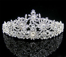 79b Dazzling Pageant Bridal Silver Plated Multi Flower Crystal Wedding Tiara