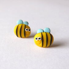 Easter Kids Gifts Girls Children Bee Bug Yellow Small Stud Post Earrings Jewelry