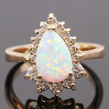 New Drop White OPAL Ring 18K Gold Plated White Rhinestones ZN Woman Ring Size 8