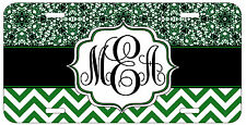 Personalized Monogrammed Chevron Lace Green License Plate Custom Car Tag L417