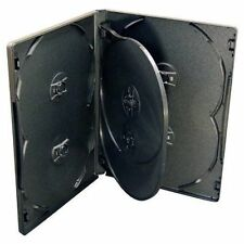 25 X 6-WAY NEW BLACK DVD CD DISC CASE 14mm SPINE REPLACEMENT SLEEVE