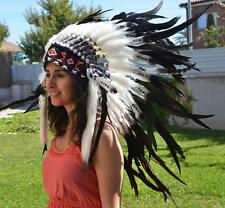 black and white Indian Feather Headdress / warbonnet double feather
