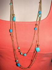 "$18 Rachel Multi-Strand Chain Necklace Faux Turquoise Beads Goldtone 39"" Long"