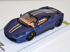 1/18 BBR Ferrari 458 Italia Matt Met blue gold stripe black wheels alcantara