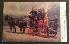 CPA. LE POMPE À VAPEUR. Incendie. Pompiers. Chevaux. Raphaël Tuck. 1908?