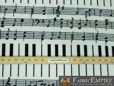 Polar Fleece Fabric Print PIANO NOTES WHITE  Sold By The Yard N-2070-OT