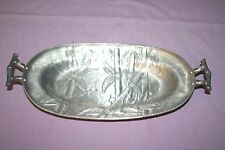 Vintage Hand Forged Aluminum Everlast Oval Serving Tray Bamboo Design