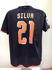 Valencia Football Shirt Jersey Away 2008/2009 SILVA #21 Spain Black Nike