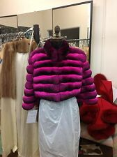 HOT PINK FUSCIA EMPRESS CHINCHILLA JACKET BOLERO Shrug 3/4 Sleeves COAT Neimans