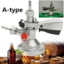 Stainless Steel A-type Keg Coupler Draft Beer Dispenser For Home Brew+Air Valve