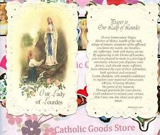 Our Lady of Lourdes w/ Prayer to Our Lady of Lourdes - Laced  Holy Card