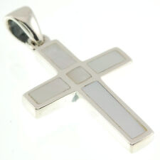 Simple Cross Silver Pendant, w Mother of Pearl, 925 Solid Sterling Silver, p11/7