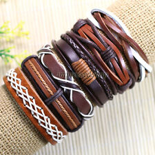 6pcs Hot Surfer Cuff Wholesale Lots  Ethnic Tribal Genuine Leather Bracelets-D91