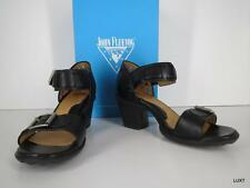 FLUEVOG 8 Black Assured Luxury Strappy Leather Heels Sexy Sandals Pin Up PUG VLV