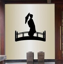 Vinyl Decal Asian Japanese Woman on Bridge with Parasol Wall Sticker 459