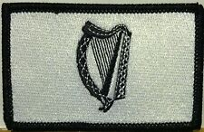 IRISH Flag Patch With VELCRO® Brand Fastener  Black & White. BLACK Border #2