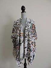 Chicos Shawl Wrap Top Beaded Textured One Size Career Casual EUC Geometric Work