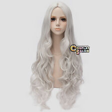 Halloween Silver White 80CM Long Curly Harajuku Girls Lolita Anime Cosplay Wig