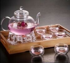 Teapot Tea Cup Set Filter Modern Kitchen Transparent 6 Cups Modern Contemporary