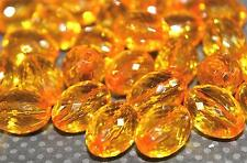 Translucent Amber Faceted Oval Acrylic Beads 16x11mm (20ea)  B211