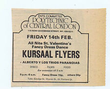 KURSAAL FLYERS - LONDON POLYTECHNIC press clipping (15/2/75) 9X8cm