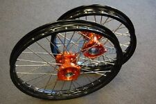 KTM SX 85 Black Rim CNC Hub 19/16 WHEELS SET ORANGE 2003-2015 V RMT04