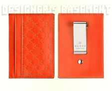 GUCCI orange MICRO GUCCISSIMA leather metal MONEY CLIP card Case NIB Authen $220