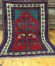 "Beautiful Vintage 1960s  Turkish 3'4""×4'5,Tribal Wool Pile Prayer  Rug"
