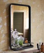 Vintage Loft Industrial Warehouse Style Metal Frame Wall Mirror WIth Shelf