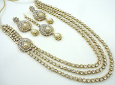 PEARL WHITE CZ GOLD TONE INDIAN TRADITIONAL RANI HAAR NECKLACE SET 4 PC JEWELRY